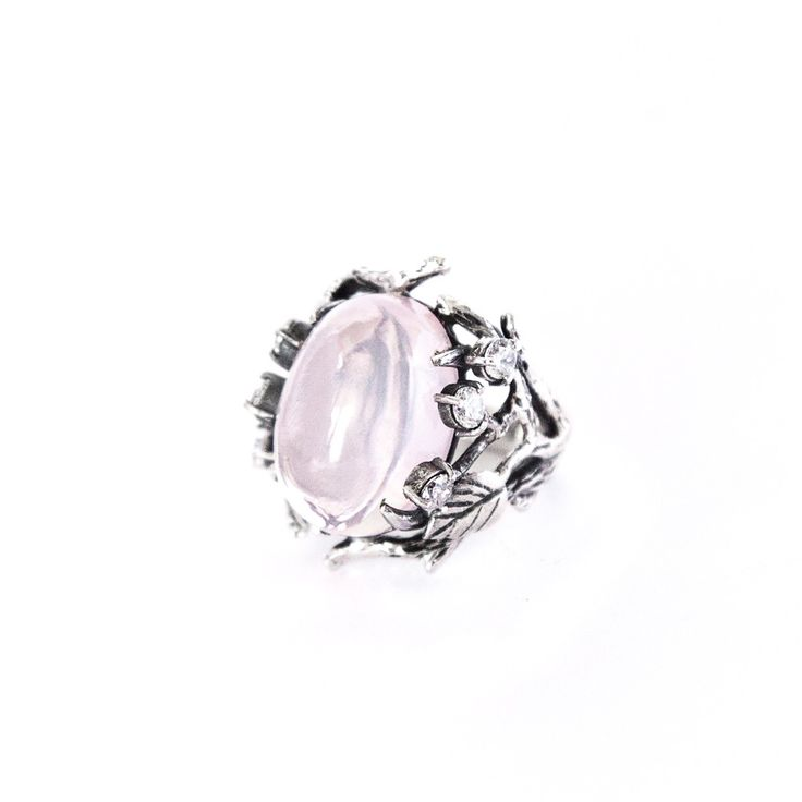 """Lukomorye"" ring with rose quartz by Donna Yolka. #jewelry #jewellery #finejewellery"