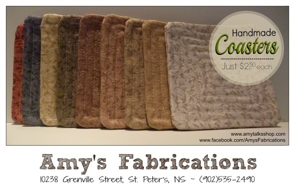 Amys Fabrications: Nine Fabric Coasters in Assorted Colours