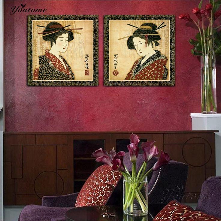 Classica Giapponese Pittura Della Decorazione Della Parete Stampe Foto Ritratto Donna Giapponese Pittura A Olio di Arte Tela di Canapa per la Decorazione Della Stanza 2 Pz(China (Mainland))