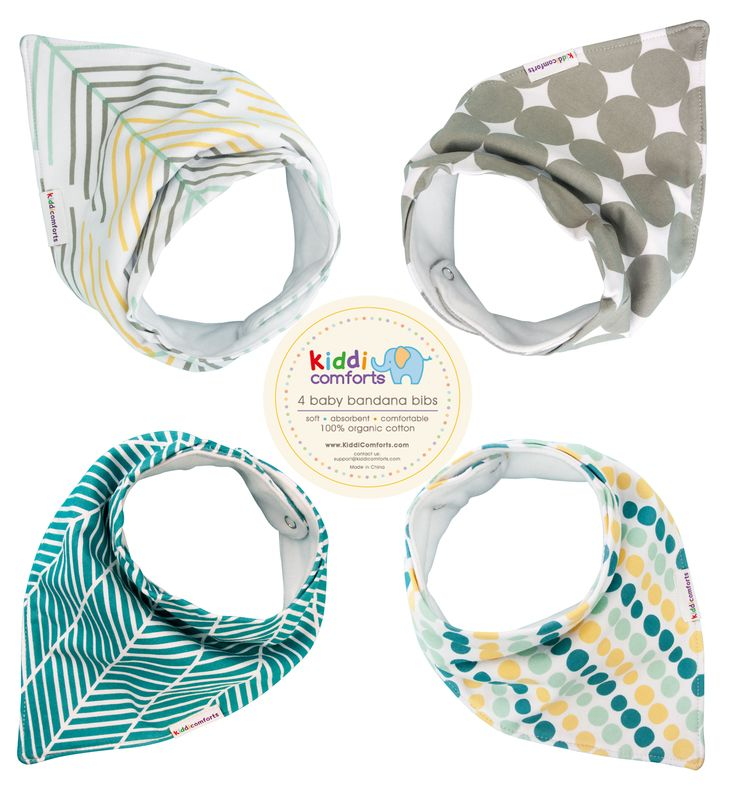 Super Absorbent, Soft and Stylish Pack of 4 Baby Bandana Drool Bibs on sale at Amazon, amzn.to/1QX1yBz.   With 2 snaps providing different sizes to suit newborns & toddlers you can now keep your little monster dry and drooling in style!
