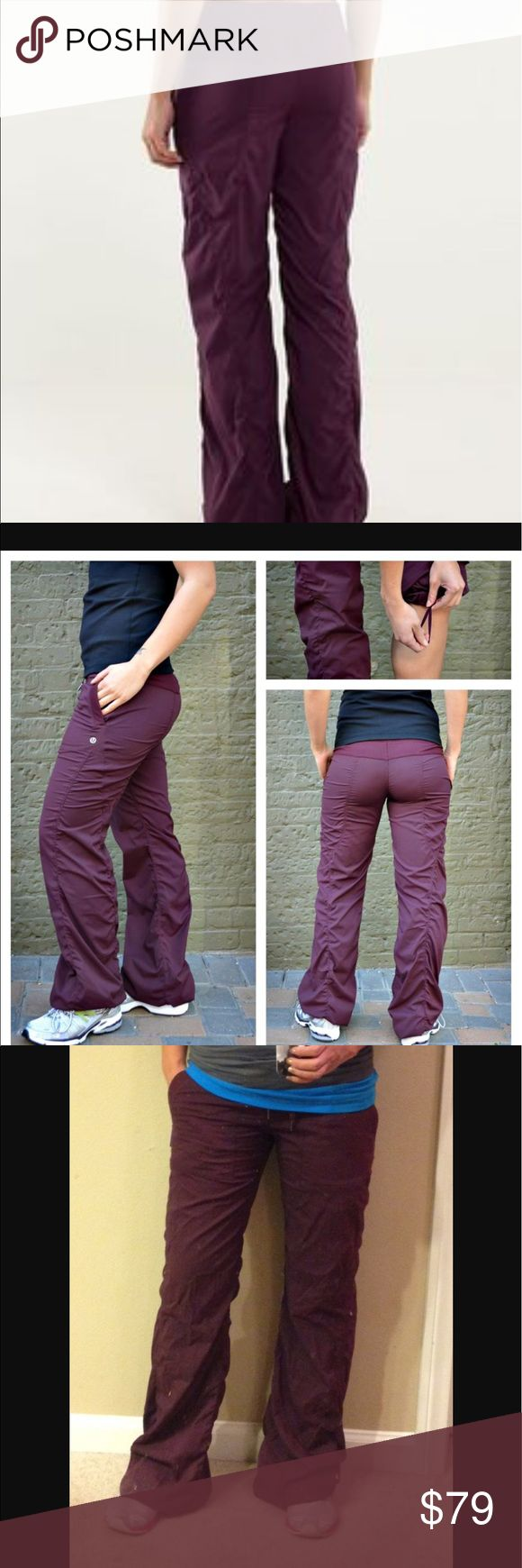 VEUC Lululemon Dance Studio Pants II Bordeaux 2 NO RIPS! NO DRAGS ON THE BOTTOMS!  NO STAINS!  I have every color in the lined and unlined Dance Studio Pant II but trying to unclutter a bit. I never use these, just not my color. These are lined, which are my favorites as they make the pant look better in my opinion.   REASONABLE OFFERS WELCOME. NO LOW BALL OFFERS PLEASE. lululemon athletica Pants Track Pants & Joggers