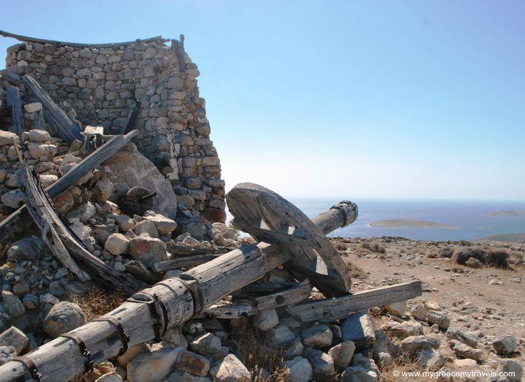 Fallen pieces from the windmills, Xaplovouni, Kimolos, Greece.