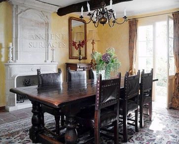 Antique Stone Fireplaces - mediterranean - fireplaces - new york - Ancient Surfaces... LOVE the table!