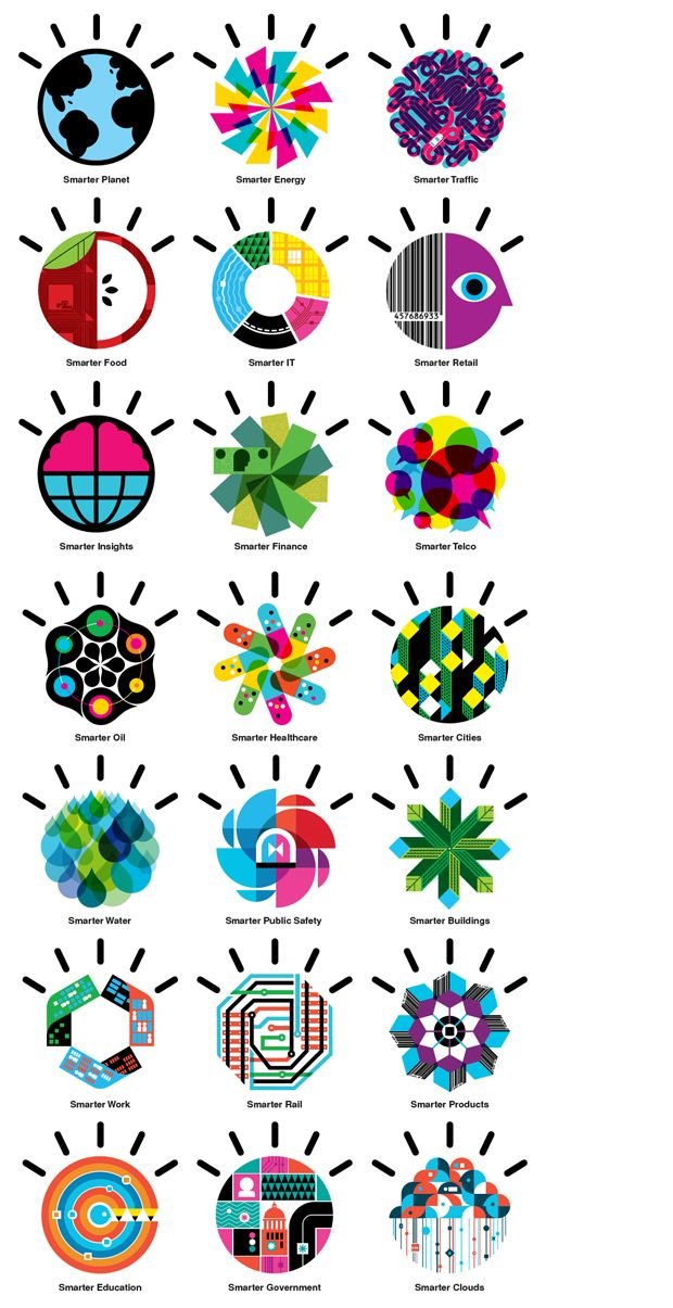 "IBM ""Smarter Planet"" icons. Cited for 4. Rays in 100 Ideas that changed Graphic Design."
