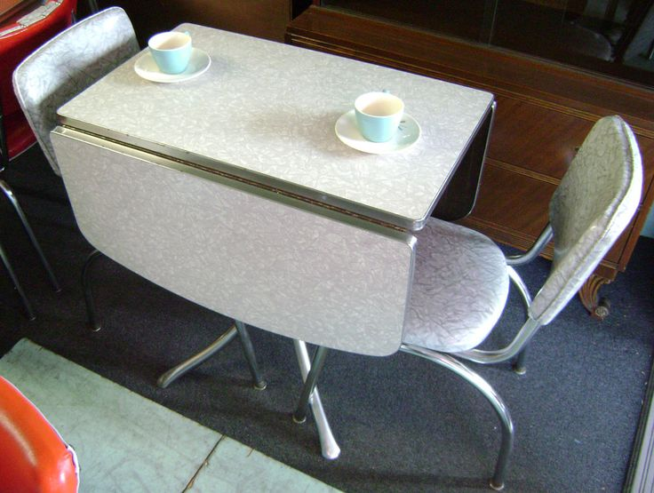 retro drop leaf kitchen tables and chairs | Gray Formica Top Drop Leaf With 2 Chairs