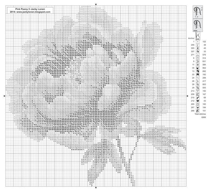 Pink peony - free cross stitch pattern - chart & key