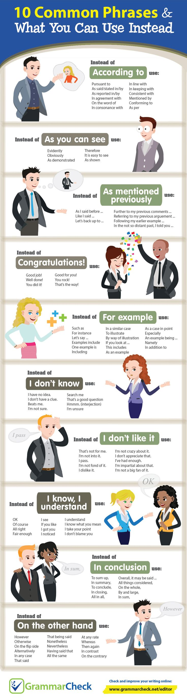 10 Common Phrases & What You Can Use Instead (Infographic)