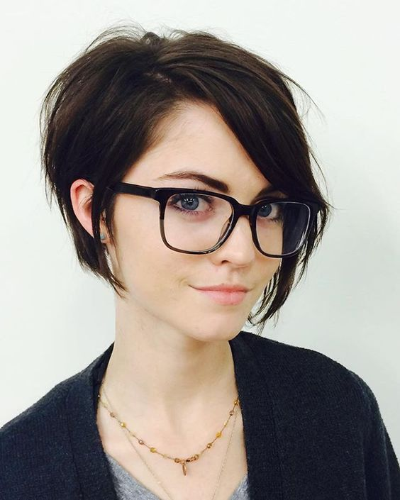 Cool and sexy brown short hair with glasses