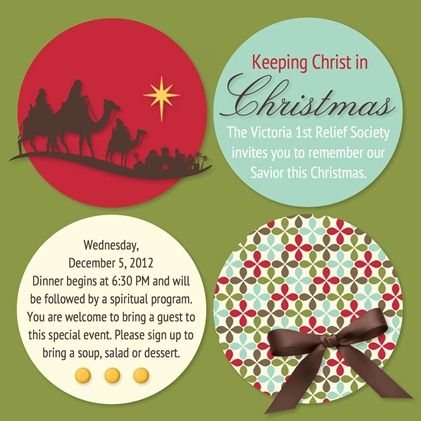Keeping Christ in Christmas RS Christmas Activity outline and Invite - an important theme to emphasize!