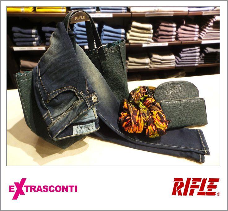 #Skinny #denim #trousers / #Jeans super skinny - #Rifle  #Original: 71,50€ #Outlet #price: 49,90 #EXTRASCONTI: 34,50€ #Bag / #Borsa - Rifle  Original: 71,50€ Outlet; 49,90€ EXTRASCONTI price: 34,50€ #Wallet / #Portafogli Original: 36,00€ Outlet: 19,90€ EXTRASCONTI:13,50€ #Pochette  Original: 43,00€ Outlet: 24,90€ EXTRASCONTI: 17,00€ #Foulard / #Pashmina  Original: 40,00€ Outlet: 27,90€ EXTRASCONTI: 13,50€ #Available at Rifle - #store number 4…