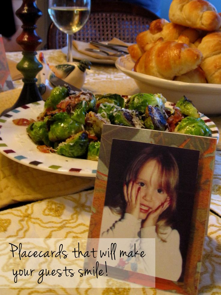 Holiday dinner placecards sure to make every guest smile! Secretly collect childhood photos of every guest and mount them to a folded piece of cardstock (preferably one with a holiday design). Everyone loves both the surprise and seeing what their loved ones looked like as children. Great for Thanksgiving, Christmas and Hanukkah!
