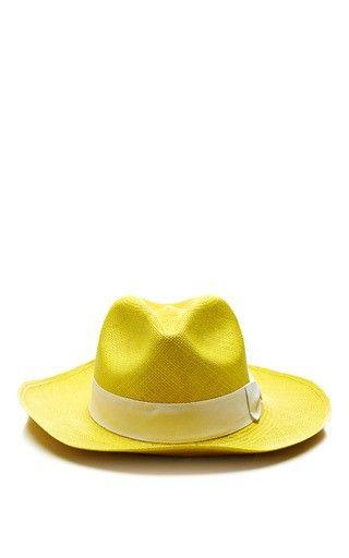 Classic Panama Hat in Yellow by Sensi Studio Now Available on Moda Operandi