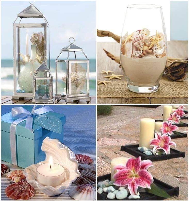 Para una boda en la playa, estos centros de mesa están ideales.