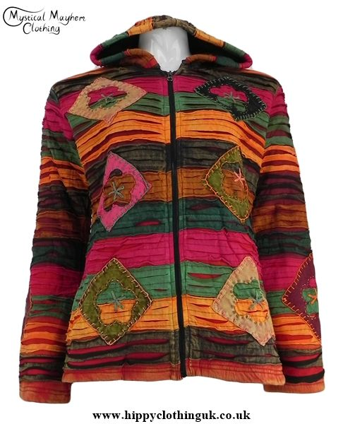 Red and Burgundy Ripped Look Cotton Fleece Lined Pixie Hooded Jacket