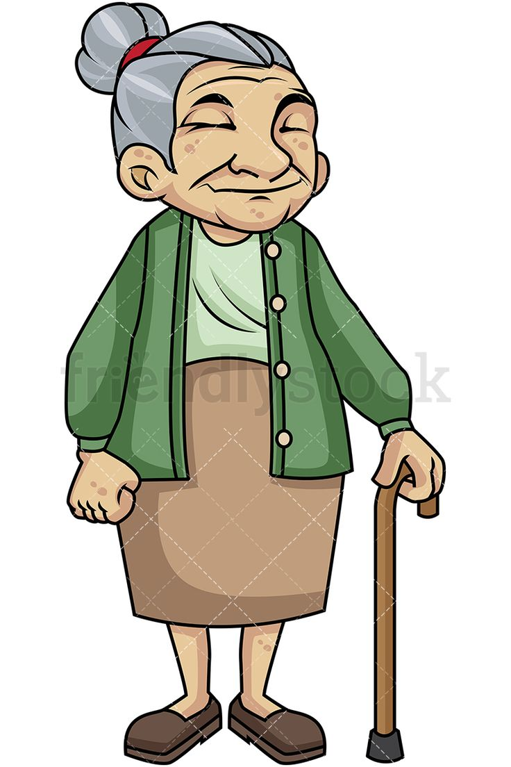 Old Woman With Walking Stick: Royalty-free stock vector illustration of a frail male senior citizen with a moustache, wearing casual clothing and holding a walking cane, looking adorable. #friendlystock #clipart #cartoon #vector #stockimage #art #frail #senior #citizen #old #mobility #aid