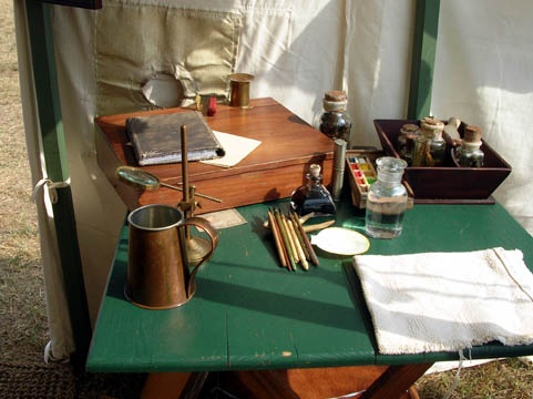 More field equipment Neil might have hauled about the New York frontier. A table in the 18th Century Naturalist's tent at Mount Vernon's 18th century Craft Fair.