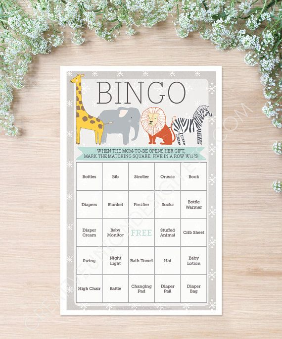 Zoo Animals Baby Shower Bingo - 50 Unique Game Sheets - Baby Shower Games…