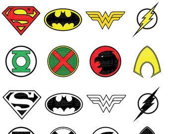 Liga de la justicia super héroe símbolo Clipart | EPS/PNG/SVG/archivos | Superman | Batman | La mujer maravilla | Flash | Aquaman | Uso personal y comercial
