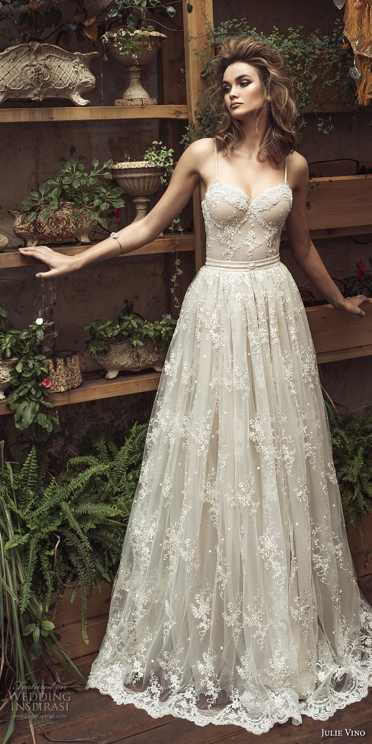 julie vino 2017 bridal spagetti strap sweetheart neckline full embellishment bustier romantic sexy a  line wedding dress sweep train (1257) mv -- Romanzo by Julie Vino 2017 Wedding Dresses