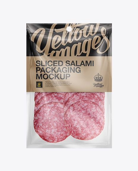 Plastic Vacuum Bag W/ Sliced Classic Salami Mockup. Preview