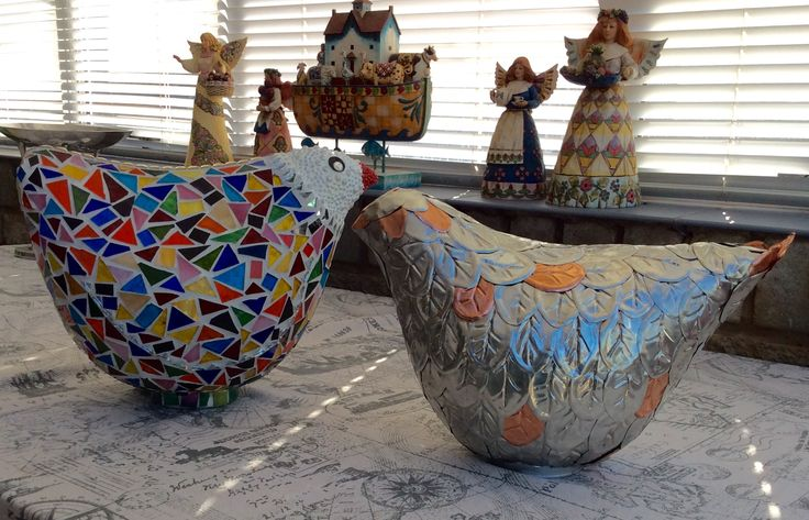 Chickens made for the GRIP art exhibition of 2016 to benefit victims of domestic violence and rape.