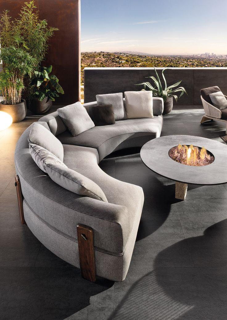 "Florida ""outdoor"" seating system, Rodolfo Dordoni design.  #minotti #furniture #table #armchair #outdoor #2017collection #madeinitaly #homedecor #interiordesign"