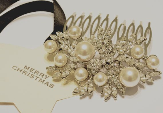Vintage style hair comb bridal hair comb with Swarovski by BYTWINS