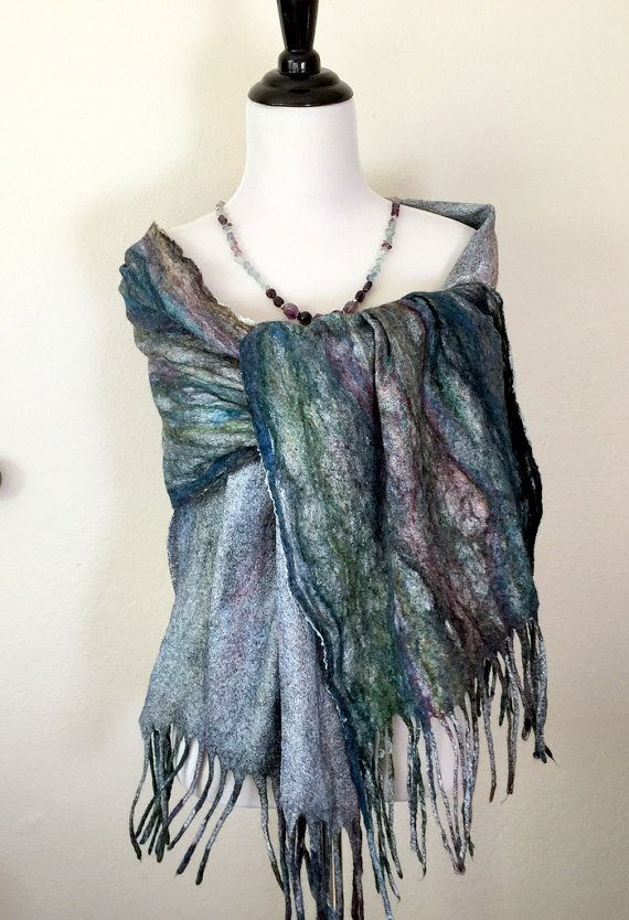 $ 50 Handmade scarves Felted wool Felted scarf Accessories