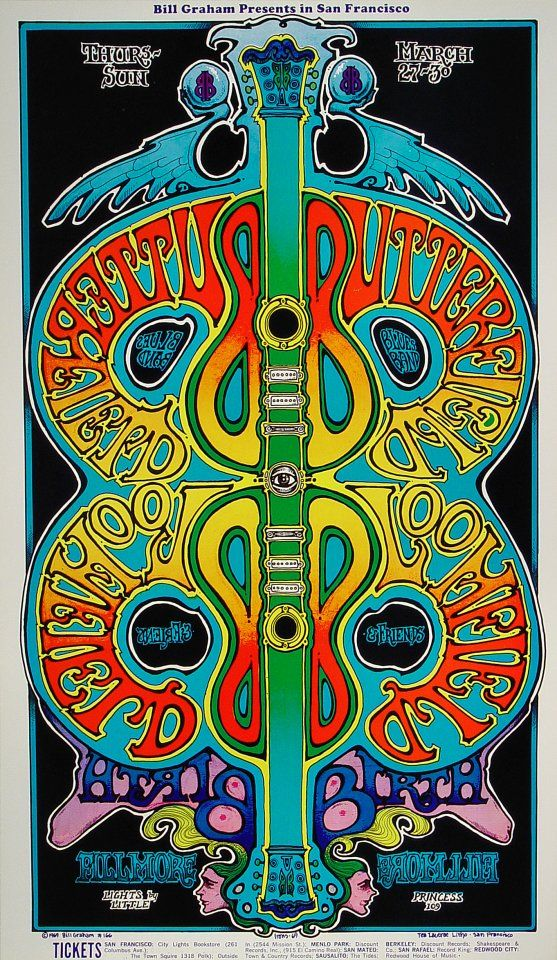 The Paul Butterfield Blues Band Poster - Rock posters, concert posters, and vintage posters from the Fillmore, Fillmore East, Winterland, Grande Ballroom, Armadillo World Headquarters, The Ark, The Bank, Kaleidoscope Club, Shrine Auditorium and Avalon Ballroom.