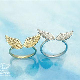R163光沢のある小さな天使の翼指リング用女性ファッションジュエリーanillosゴールドシルバーメッキと操作リング熱い販売