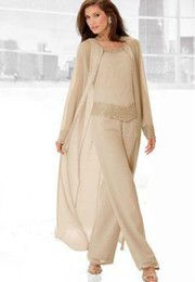 2017 Mother of the Bride Dresses Pants Suits Wedding Guest Dress Three Pieces Sheer Long Sleeve Jacket Champagne Silk Chiffon Beaded