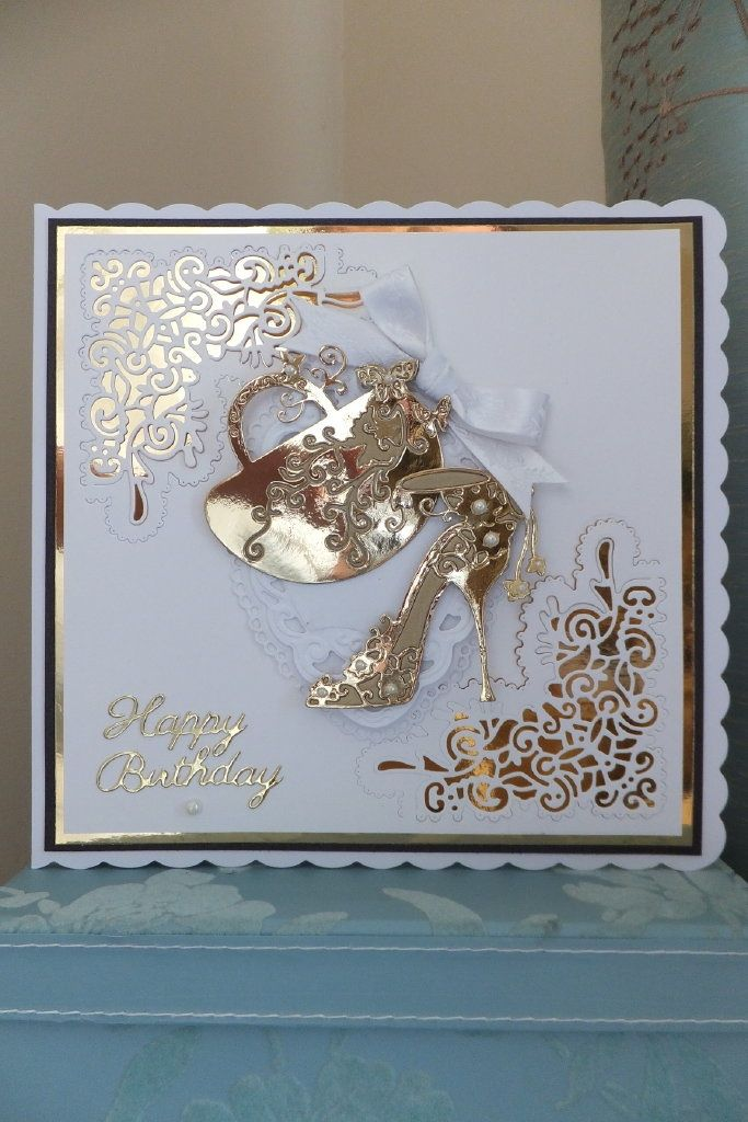 Tattered lace birthday card (various dies)