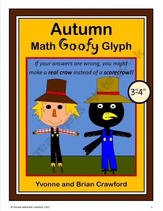 Autumn Math Goofy Glyph (3rd and 4th grade) product from Yvonne-Crawford on TeachersNotebook.comGrade Math, Autumn Math, Grade Common, Schools Ideas, Common Cores, Classroom Ideas, Goofy Glyphs, Math Goofy, 2Nd Grade