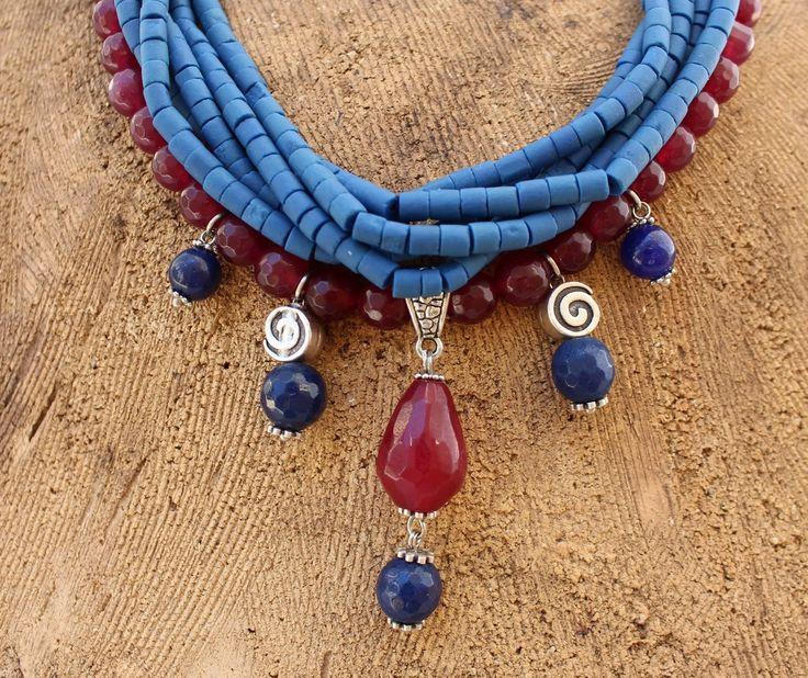 İletişim: aksesuarelle@gmail.com   Kuvars ve Afgan Boncuklu Sallantılı Kolye - El Yapımı Takı Tasarım / Quartz and Afgan Beads Bohem Neclace- Handmade Jewelry Design
