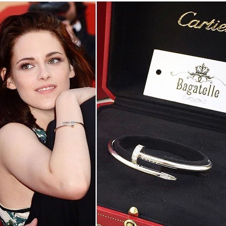 Cartier 18K White Gold with 27 brilliant cut diamonds Juste Un Clou Bracelet.  Condition: excellent, box included  This beautiful jewelry has been all time favorite for everyone; from style bloggers to celebrities like #kristenstewart .  Available at Bagatelle Boutique for the price of AED 35,000 Folow @fashionbookface   Folow @salevenue   Folow @iphonealiexpress   ________________________________  @channingtatum @voguemagazine @shawnmendes @laudyacynthiabella @elliegoulding @britneyspears…