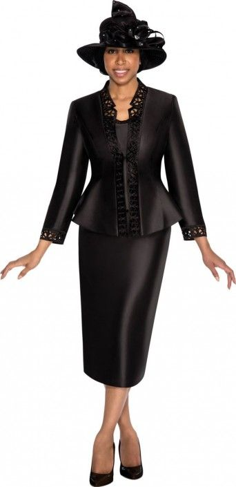 Size 10 Black GMI G5343 Womens Church Suit with Cutout Trim