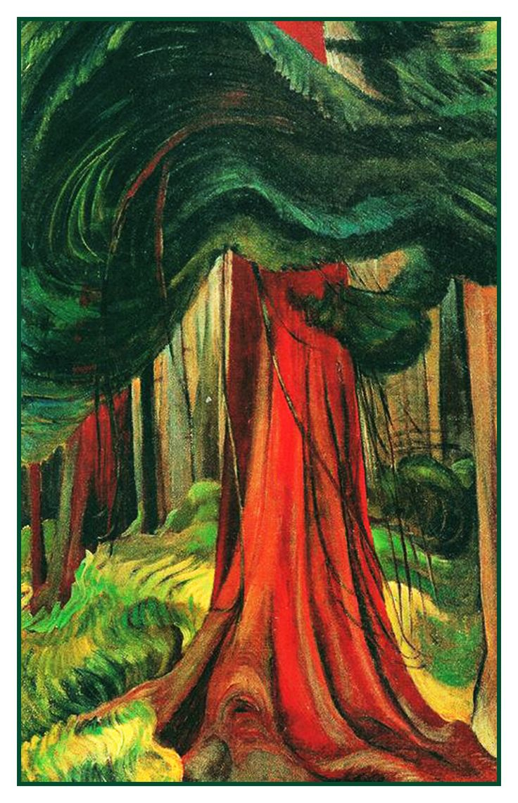 Emily Carr The Red Cedar Tree Canada Landscape Counted Cross Stitch or Counted Needlepoint Pattern