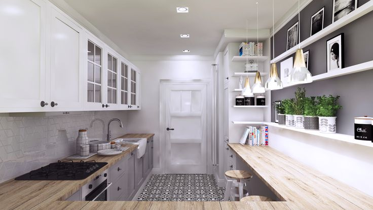 classic kitchen with modern elements, Gdansk, Poland