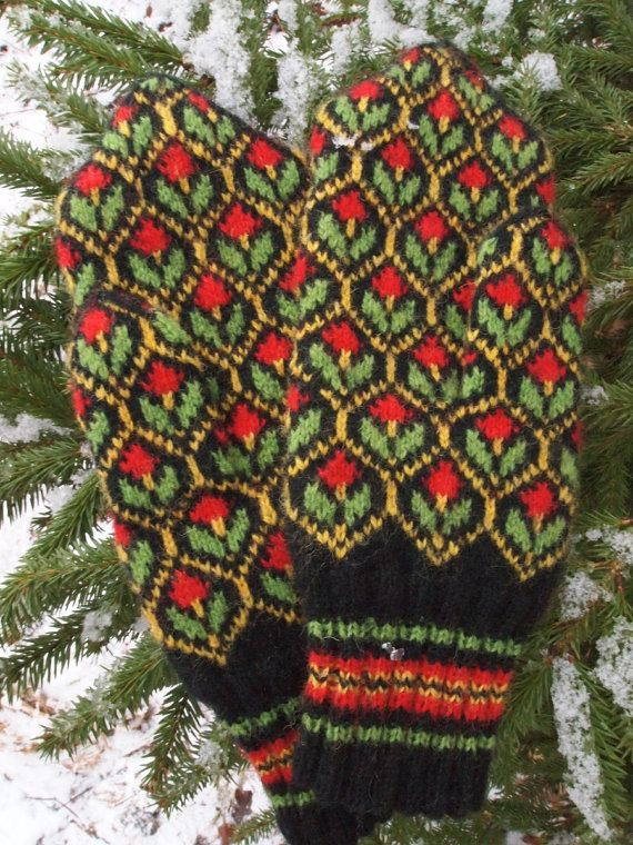 Hand Knitted Traditional Estonian Mittens Fine by NordicMittens, $96.00