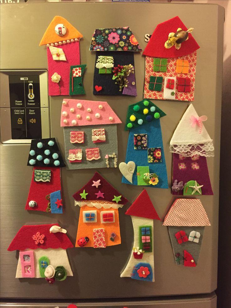 ev, keçe, keçe ev, keçe magnet, magnet, keçe, sipariş, felt, feltro, felt house, felt magnet, design, handmade