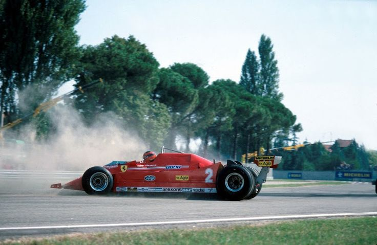 Gilles pushes the 126Turbo during practice at Imola in 1980. Ferrari's 1980 car the 312T5 was a completely disastrous and they brought out their testing model with their new 1.5 liter Turbo for Gilles to test during the weekend. Also noted that the Italian Grand Prix was held at Imola not Monza this year.