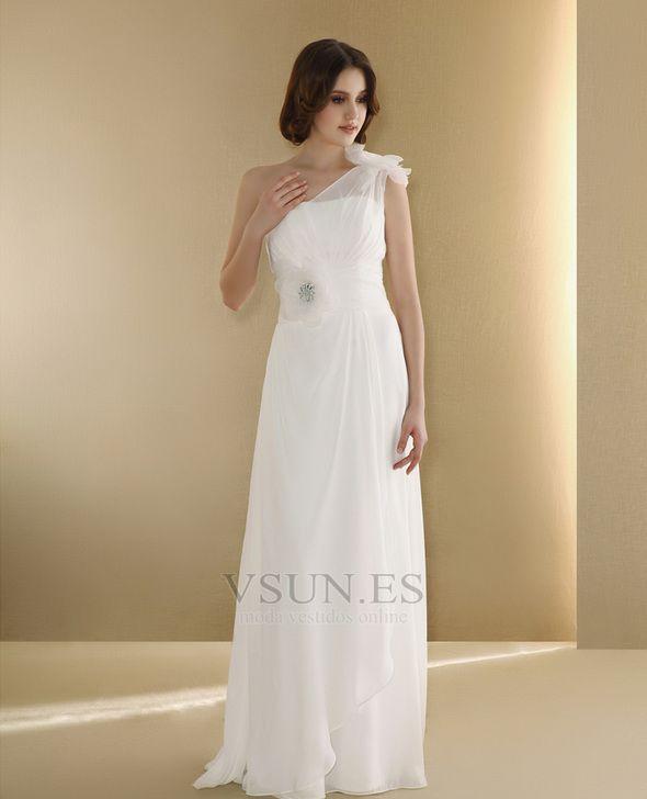 Vestido+de+novia+Un+sólo+hombro+Flores+Corte+Recto+Natural+Un+tirante+con+flor