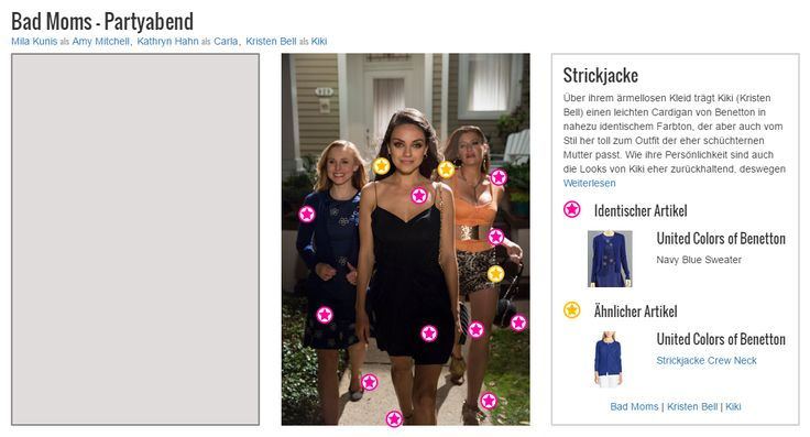 Über ihrem ärmellosen Kleid trägt Kiki (Kristen Bell) einen leichten Cardigan von Benetton in nahezu identischem Farbton, der aber auch vom Stil her toll zum Outfit der eher schüchternen Mutter passt. Wie ihre Persönlichkeit sind auch die Looks von Kiki eher zurückhaltend, deswegen aber keinesfalls langweilig. Durch perfekt harmonierende Schnitte und Farben beweist sie mit ihren Styles nämlich auch ohne tiefe Ausschnitte oder hautenge Passform ein gutes Gespür für Mode.