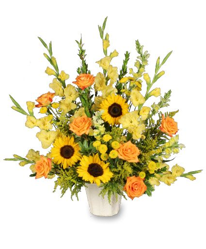 Altar flower arrangements featuring sunflowers golden