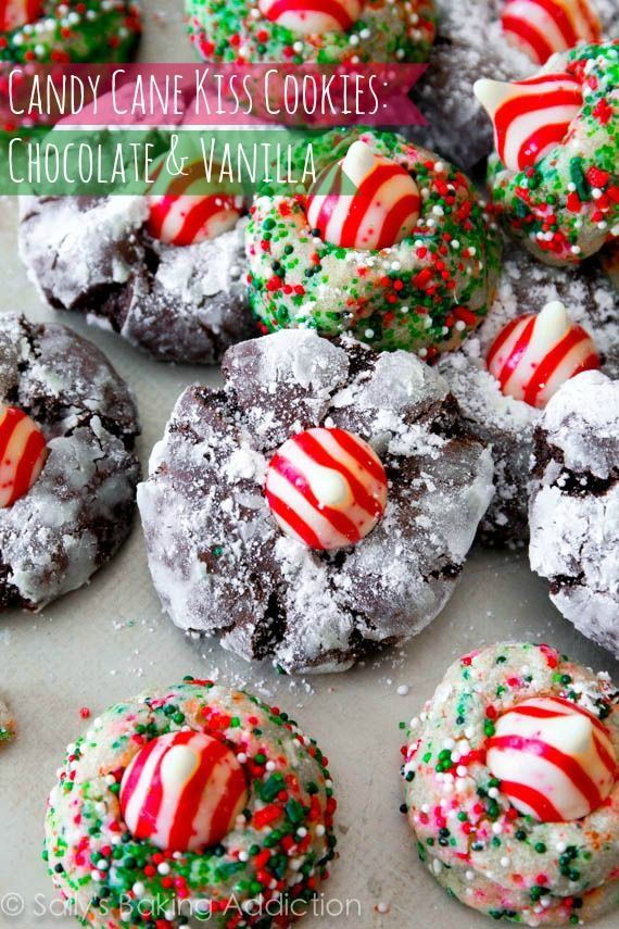 Candy Cane Kiss Cookies - with a recipe for a vanilla version and a ...