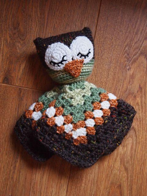 Ravelry: Sleepy Owl Security Blanket Lovey doll pattern by Heather Jarmusz.
