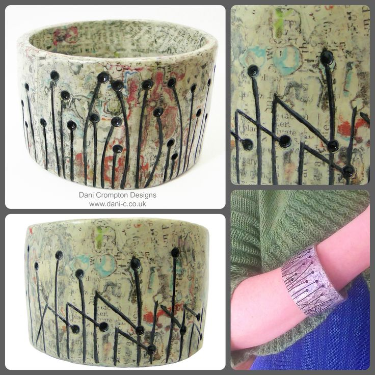 Hundreds of layers of paper smoothed and carved. The styalised pattern depicted, acts as a reminder of the sad reality of over deforestation around the world. This bracelet can be a stand alone piece due to its striking width. This is a one of a kind carved paper bangle Material: Newspaper Interior diameter: approx - 6.5cm Width: 4.5cm  Price: £75 #DaniCromptonDesigns www.dani-c.co.uk