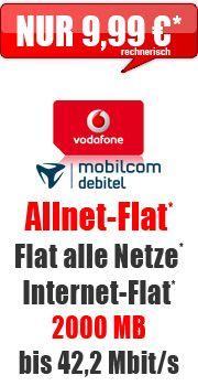 Allnet-Flat + 2000 MB 9,99 Aktion mit Vodafone comfort Allnet Flat 2 GB Vertrag! bestellen