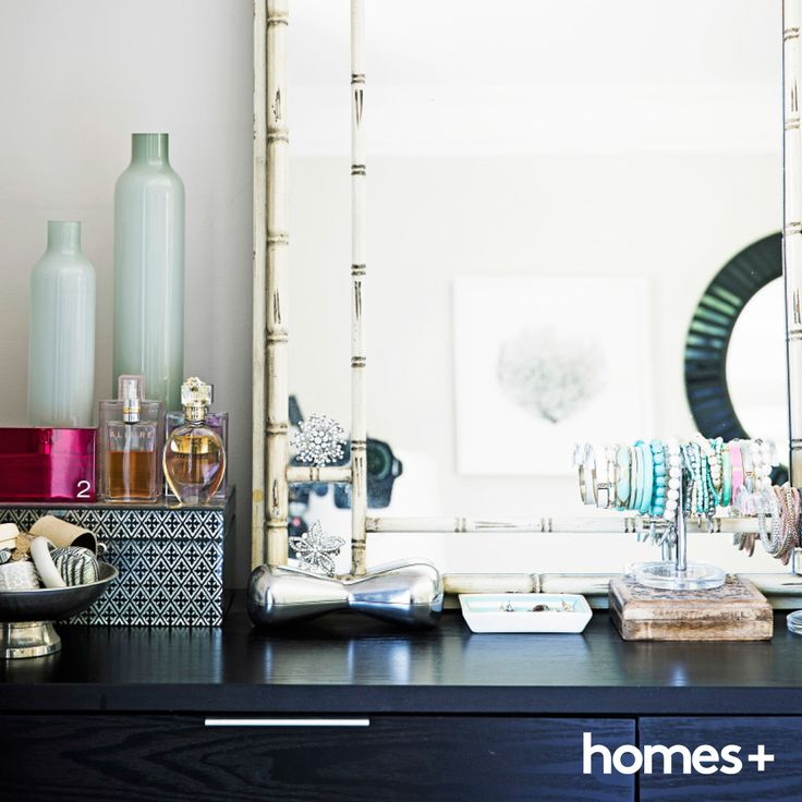 Jaclyn used #accessory #stands from Howards Storage World to display her #jewellery. As featured in the April 2015 issue of homes+. #mirror #storage #boxes #perfume #vessel #vase #beachhouse #decor #style #interior #home #homesplusmag