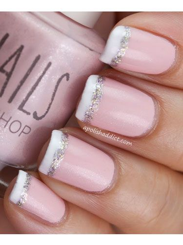 Pink-and-Glitter French Tips